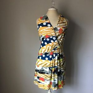 NINE WEST DRESS MULTI COLORED FAUX WRAP 12